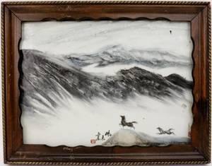 Oriental Horses in Landscape Porcelain Plaque