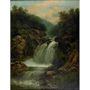 19th c american landscape oil on canvas with waterfall framed 36 x 28