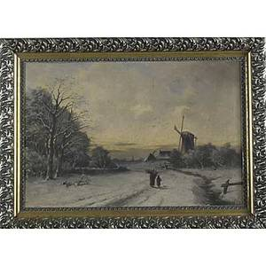 19th c dutch landscape oil on canvas of a landscape at sunset framed 14 x 21 12