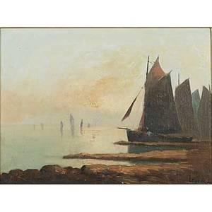 20th c french seascape oil on canvas of bretagne fish boats on the coast framed signed legoec 12 x 15 34