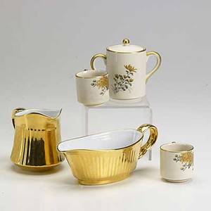 European porcelain etc thirtytwo pieces all 19th20th c twelve 8 12 handpainted plates by limoges gilded creamer sugar gravy boat and two casserole dishes by royal worcester soko satsum