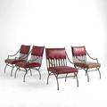 Empire style set of four wrought iron lounge chairs with red vinyl cushions 37 x 23 x 26