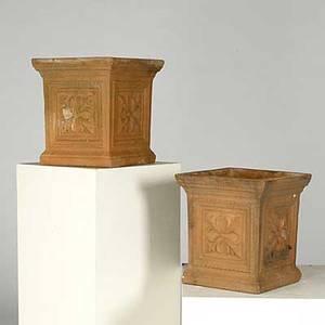 Garden ornament pair of terra cotta urns with leaf design 20th c 14 12 x 13 12 x 13