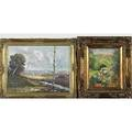 Four oil paintings three oil on canvas or oil on board landscapes framed and oil on canvas contemporary allegorical scene framed 20th c all unsigned largest 12 x 20