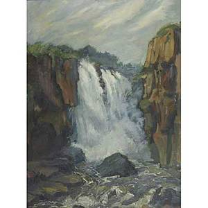 American landscape 20th c oil on canvas of a waterfall framed 30 x 20