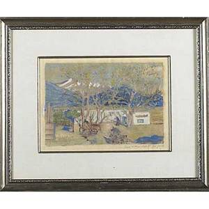 Joseph fleck austrianamerican 18921977 monoprint in colors on rice paper taos new mexico 1951 framed signed dated and titled 9 x 12 12 sight provenance private collection