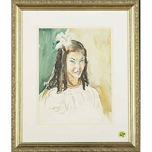 Walter e baum american 18841956 watercolor portrait of a young girl framed signed 10 x 8 together with four works on paper framed