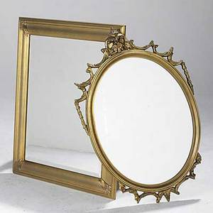 Two gold framed mirrors one with carved frame 20th c larger 38 x 31