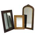 Three mirrors victorian walnut together with two ogee framed mirrors all mid 19th c tallest 48 x 25