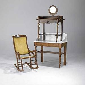 Victorian furniture grouping three pieces include marble top washstand mirrored washstand and armed rocker largest 41 14 x 39 14 x 18 12