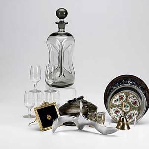 Decorative box lot approx thirtyfive pieces include flint colored blown glass decanter five folk art prints etc