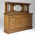 Oak backbar mirrored top with columns assembled from parts early 20th c 67 x 81 x 17 12