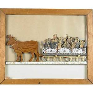 Folk art assemblage plywood cutouts mounted gravure figures and buttons depicting a sleigh drawing by oxen mounted in a shadow box frame 1936 elbert m kelery  collection 1936 label 22 x
