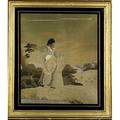 Three 19th c needlework pictures depicting a scene with figures framed largest 35 x 28