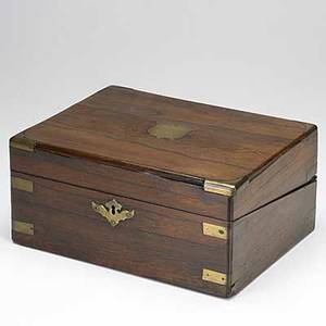 Rosewood lap desk brass mounted with shield inlay top 19th c 5 12 x 12 x 9