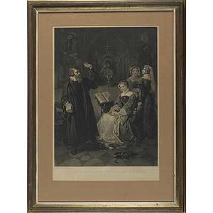 After emanuel leutze american 18161868 two 19th c engravings john sartain american 18081897 interview of john knox with mary queen of scots 1848 framed sir walter raleigh partin fro
