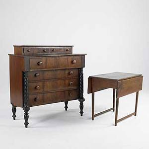 Traditional furniture empire two over four drawer mahogany chest with reeded columns together with pembroke pine dropleaf table 19th c chest 45 x 44 x 20 12