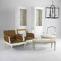Traditional furniture pair of maison jensen style lounge chair frames bergere frame ottoman frame and two china cabinets all painted white together with a wrought iron lantern cabinet 81 x 2