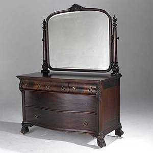 Empire style mirrored dresser claw feet in mahogany early 20th c 75 x 55 x 26