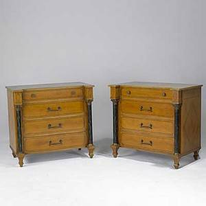 Pair of french empire style chests four drawers ebonized columns mid 20th c 35 12 x 38 14 x 22 34