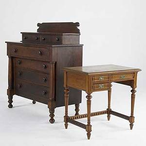 Traditional furniture empire mahogany two over four drawer chest together with single pedestal kneehole desk chest 51 12 x 44 12 x 21
