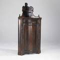 Empire corner cupboard mahogany with gallery top and serpentine door 19th c 74 12 x 36 12 x 24 12