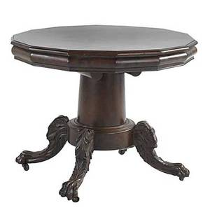 Empire center table mahogany with pedestal base and carved legs mid 19th c 28 12 x 36 dia