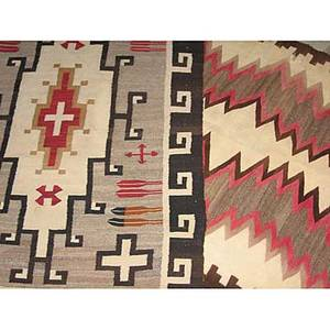 Native american rugs two navajo area rugs with geometric design 20th c larger 81 x 43