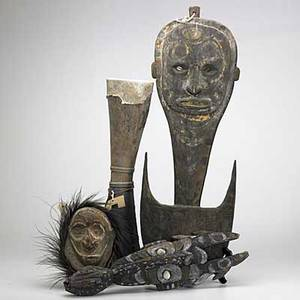 Four new guinea objects chambri lake mask with cassoway feathers sepik river mask with crocodile suspension hook and kundy drum all with natural pigments largest 31