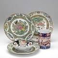 Asian porcelain three famille rose plates imari brushpot and imari bowl 19th20th c plates 9 12 dia