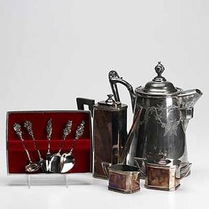 Assorted silver plate nine pieces reed  barton victorian coffee pot art deco coffee pot sugar and creamer by lbs co and five piece dessert utensil set 19th20th c tallest 11 12