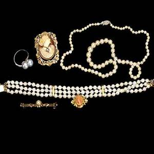 Pearl or cameo jewelry six pieces include 18 12 cultured pearl necklace triple strand 7 12 cultured pearl bracelet with 14k yg clasp and accents 10k wg silver pearl and diamond ring 9k yg vic