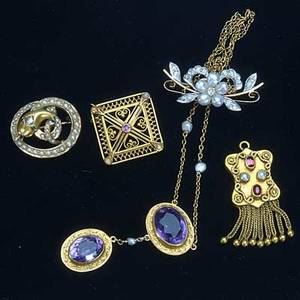Victorian gold jewelry five pieces 19th20th c amethyst lavaliere with seed pearl accents in 14k yg floriform brooch with diamonds and pearls in 14k yg snake form pendantbrooch with pearls a di