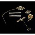 Bar pins handy pins and brooches six pieces 10k wg barpin with blue topaz crown pin with seed pearls in 9k yg etruscan revival brooch with coral gf art deco brooch set with seed pearls freshwat