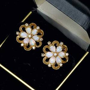 Opal and diamond cluster earrings 14k yg floriform with pear shaped opals and single cut diamonds ca 1960 56 ct tw lever post backs 148 gs 1