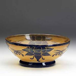 Charles schneider verreries schneider cameo glass bowl etched with stylized blossoms in mottled cobalt and orange etched le verre francais 3 12 x 8 34