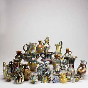 Williamsburg pottery group lot approx thirtyseven pieces mostly ewers tallest 8 12