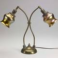 Steuben twostem brass lamp with gold aurene shades shades signed steuben 17