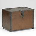 English arts  crafts hammered copper humidor with heavy riveted frame and ball feet lined with lead insert 7 34 x 10 12 x 7 12