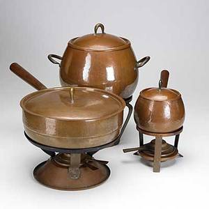 Karl raichle meersburg bauhaus hammered copper two chafing dishes and similar bulbous pot each with stand and spirit burner all have impressed marks tallest 14