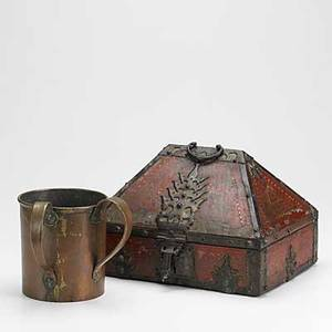 Decorative items two pieces handhammered twohandled copper cup with raised fish at bottom and a middle eastern handpainted wooden box with wrought iron mountings 19th20th c taller 9
