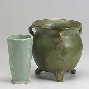 North carolina style pottery approx forty pieces includes williamsburg and others in a variety of green glazes tallest 12