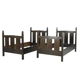 Robert walsh reproduction pair of gustav stickley pencilpost twin beds 48 x 42 12 x 80