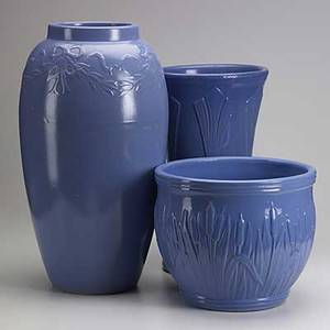 Art pottery three pieces include floor vase umbrella stand and jardiniere one stamped usa tallest 22
