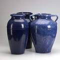 Ohio pottery three floor vases one impressed rrp co roseville oh each 18