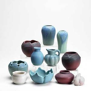 Van briggle grouping eleven pieces include persian rose and turquoise matte glazes all marked van briggle tallest 6