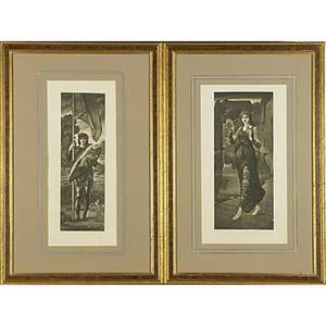 Pair of preraphaelite mezzotints black engravings depicting a warrior and a woman with cymbals each framed 20 x 8 12