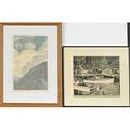 Carroll thayer berry american 18861978 three woodcut engravings two untitled seascape and color wood block print old fort edgecomb maine framed signed 10 x 12 and 15 x 9 12 accomp