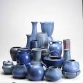 Art pottery grouping nineteen pieces some in the style of van briggle or fulper tallest 8 34