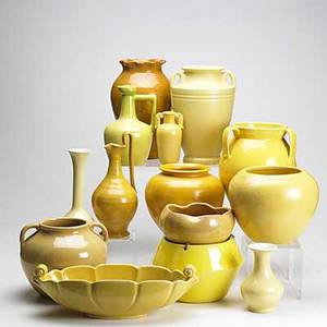 Seg stangl etc fourteen pieces include seg jardiniere stangl urn shaped vase and others including royal crown the smiths and coors jardiniere 7 x 9 dia